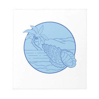 巨大なカエルの貝のビーチのヤシの木の円のレトロ ノートパッド