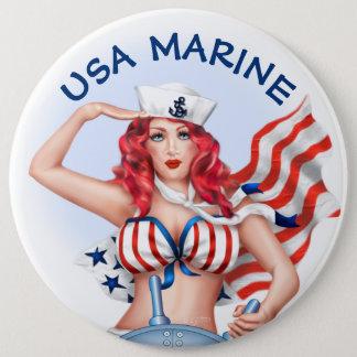 巨大なセクシーな海兵隊員米国の漫画ボタン6インチ 15.2CM 丸型バッジ