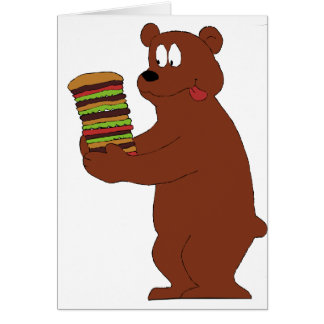 巨大なハンバーガーを持つ漫画のヒグマ グリーティングカード