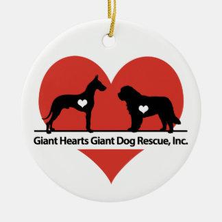 巨大なハート巨大な犬の救助のロゴ セラミックオーナメント