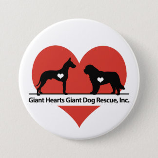 巨大なハート巨大な犬の救助のロゴ 7.6CM 丸型バッジ