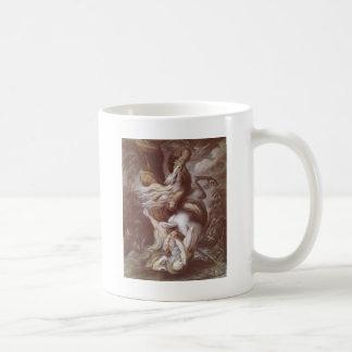 巨大なヘビによって攻撃される騎手 コーヒーマグカップ