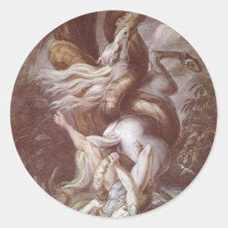 巨大なヘビによって攻撃される騎手 ラウンドシール