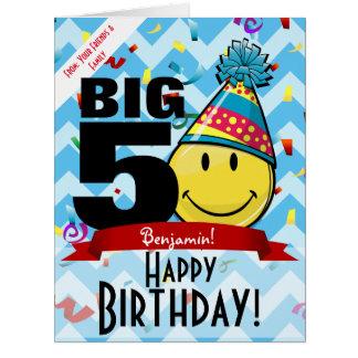 巨大な十年の印のハッピーバースデーの微笑の大きいカード カード