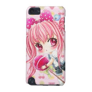 巨大な棒つきキャンデーを持つかわいいピンクの髪の女の子 iPod TOUCH 5G ケース