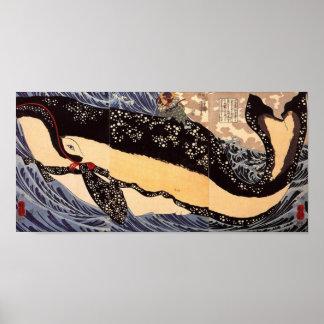 巨鯨、国芳の大きいクジラ、Kuniyoshiの浮世絵 ポスター