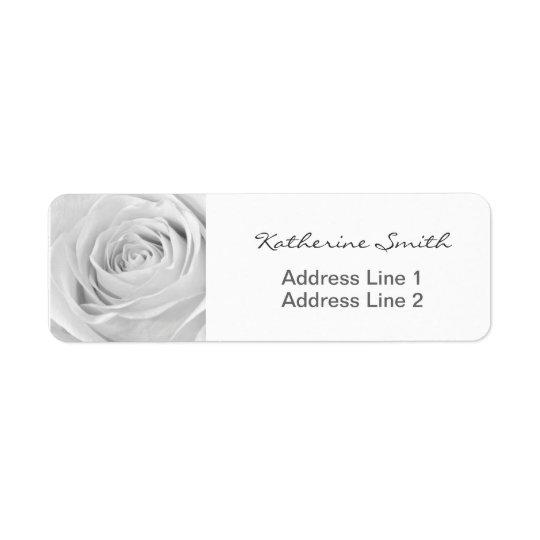 差出人住所の自然の花の写真の白いバラ 返信用宛名ラベル