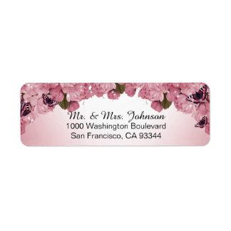 差出人住所を結婚している蝶ピンクのバラ 返信用宛名ラベル