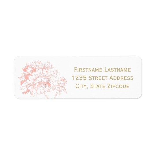 差出人住所ラベル|の珊瑚のシャクヤクのデザイン 返信用宛名ラベル