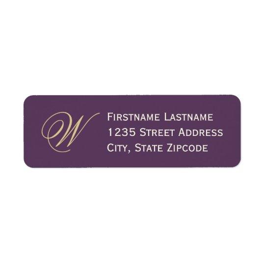 差出人住所ラベル|の紫色、シャンペンのアイボリー ラベル
