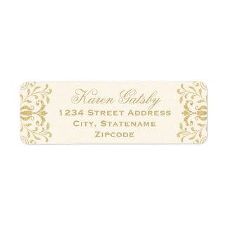 差出人住所ラベル|の金ゴールドのヴィンテージの魅力 返信用宛名ラベル