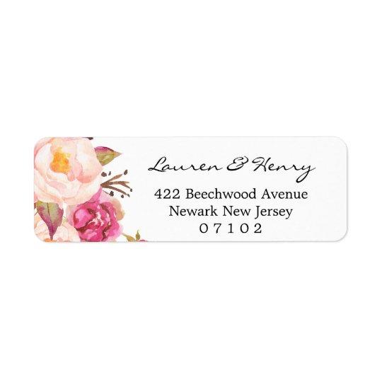 差出人住所ラベル-素朴なピンクの花柄#102 103 返信用宛名ラベル
