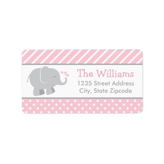 差出人住所ラベル|象のピンクおよび灰色 ラベル