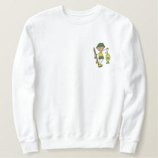 巻き枠の人の魚 刺繍入りスウェットシャツ