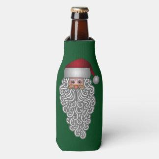 巻き毛のひげのお祝いのサンタ ボトルクーラー