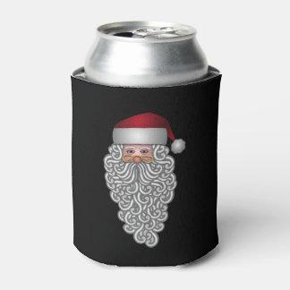 巻き毛のひげのお祝いのサンタ 缶クーラー