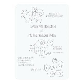 巻き毛の原稿の信頼の希望愛原稿の結婚式 12.7 X 17.8 インビテーションカード