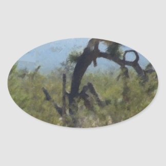 巻き毛の砂漠の木 楕円形シール