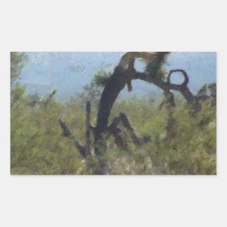 巻き毛の砂漠の木 長方形シール
