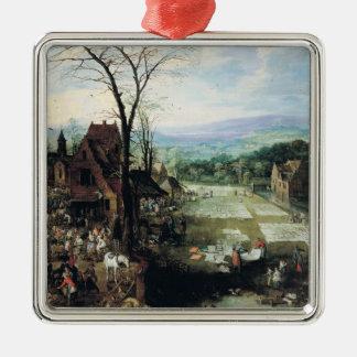 市場および漂白の地面1620-22年 メタルオーナメント