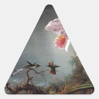 市場による2本の蘭を持つ2羽の戦いのハチドリ 三角形シール