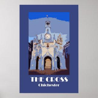 市場十字、チチェスターのレトロスタイルポスター ポスター