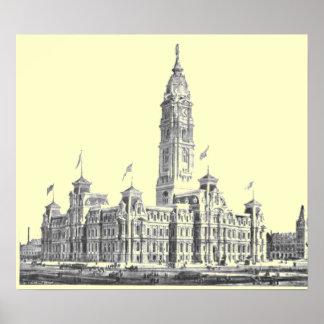 市役所フィラデルヒィアPA 1891年 ポスター