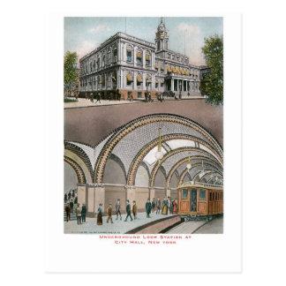市役所、ニューヨークの地下のループ場所 ポストカード