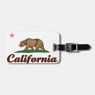 市松模様になるカリフォルニア旗 ラゲッジタグ