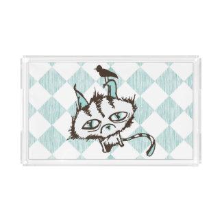 市松模様になるティール(緑がかった色)の空の子猫 アクリルトレー