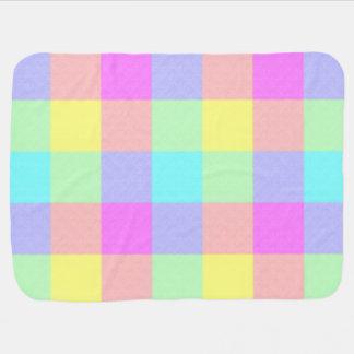 市松模様になるパステル調の虹 ベビー ブランケット