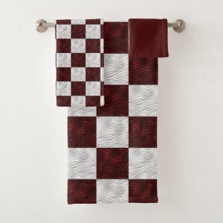市松模様になる波状の織り目加工の赤い及び白 バスタオルセット