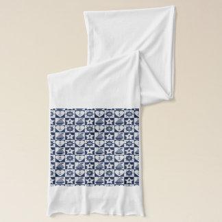 市松模様になる航海のな濃紺の白 スカーフ