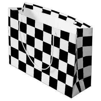 市松模様になる黒 ラージペーパーバッグ