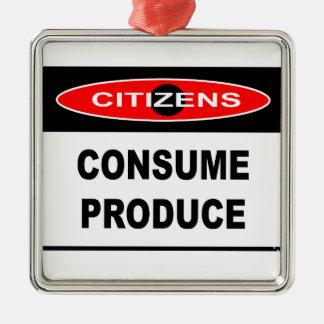 市民-農産物を消費して下さい シルバーカラー正方形オーナメント