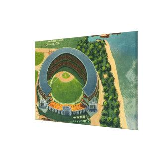 市StadiumCleveland、オハイオ州の空中写真 キャンバスプリント