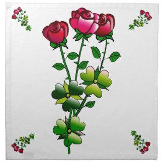 布のテーブルナプキンのセットのバラ(4)の置いて下さい ナプキンクロス