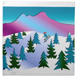 布のナプキンのスキー斜面の芸術(4)の置いて下さい ナプキンクロス