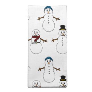 布のナプキンの白くかわいい雪だるまのクリスマス ナプキンクロス