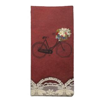 布のナプキンは自転車の赤いメルローのアイボリースクロールを自転車に乗ります ナプキンクロス