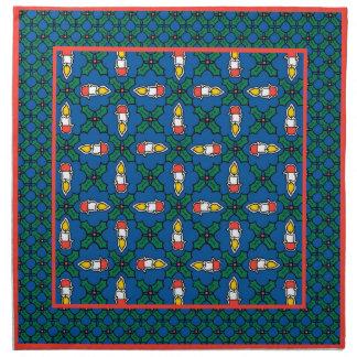 布のナプキン、ヒイラギおよび蝋燭のセット: クリスマス ナプキン