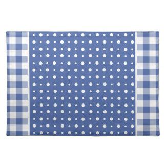 布のランチョンマットの濃紺の水玉模様、点検のギンガム ランチョンマット