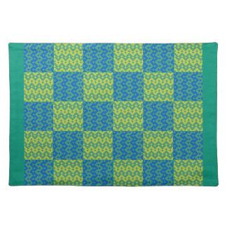 布の場所マット、エメラルドグリーンおよび青のパッチワーク ランチョンマット