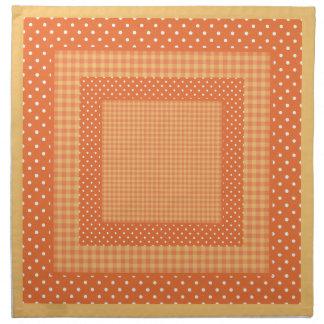 布の夕食ナプキン、オレンジの点検および水玉模様 ナプキンクロス