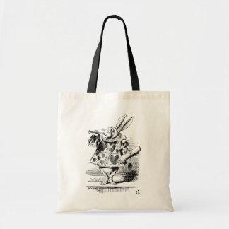 布告者として服を着る白いウサギ トートバッグ