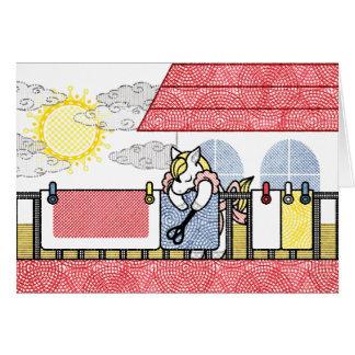 布団干し(Hang out futon) グリーティングカード