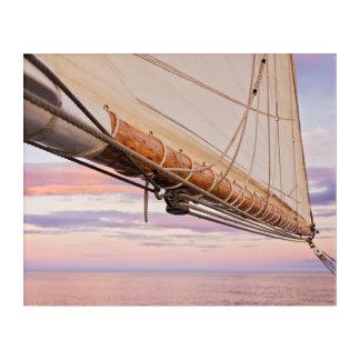帆およびロープのクローズアップ|メイン、キャムデン アクリルウォールアート