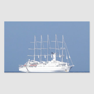 帆が付いている遊航船 長方形シール