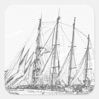 帆スケッチの下の船 スクエアシール