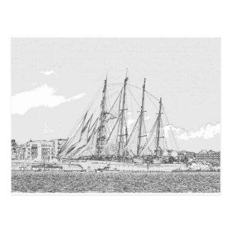 帆スケッチの下の船 ポストカード